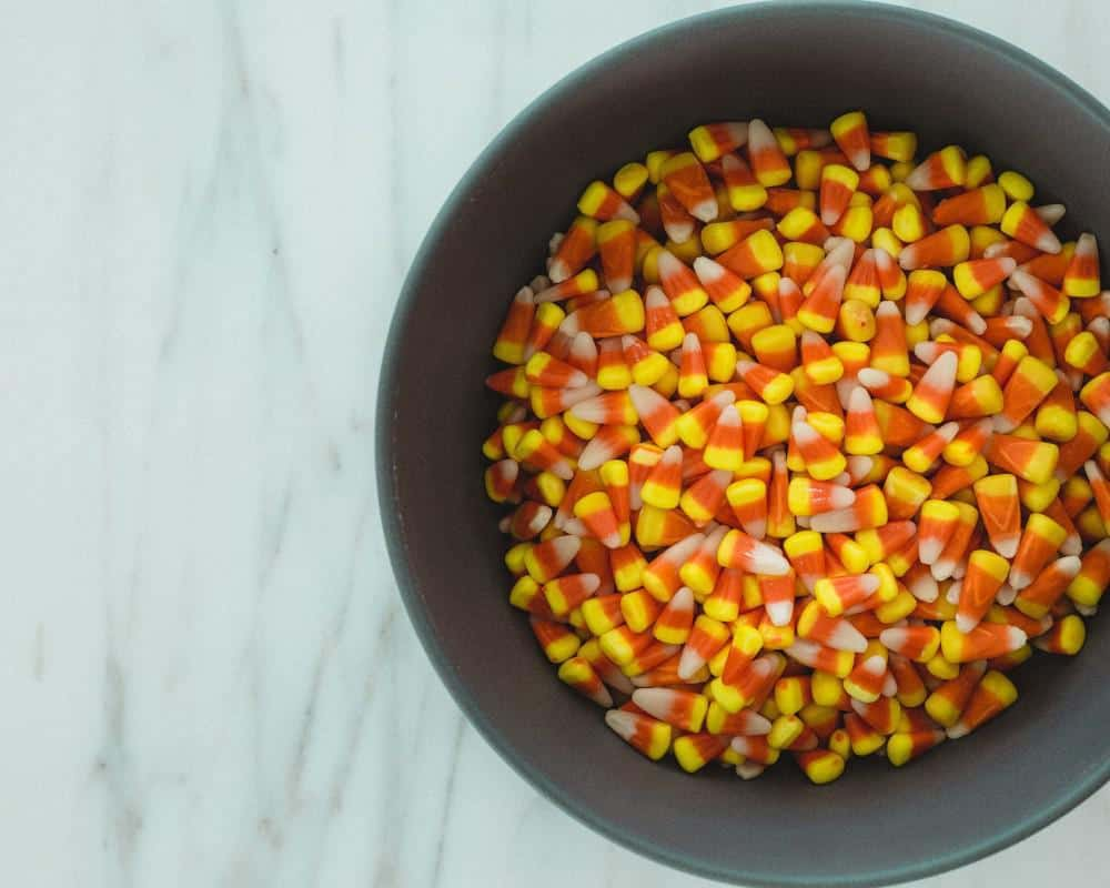 bowl of candy corn halloween treats
